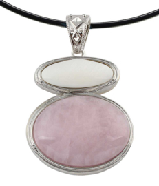 Edelstenen ketting met parelmoer Rose Quartz & White Shell