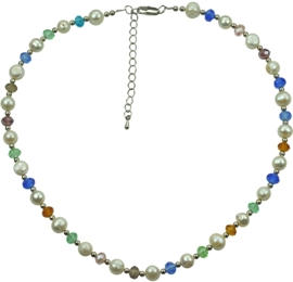 Zoetwater parelketting Multi Glass Pearl