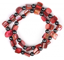 Parelmoeren en edelstenen armband Hematite Red Shell