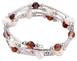 Zoetwater parel wikkelarmband met edelstenen Wrap Pearl Brown Striped Agate