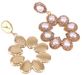 Zoetwater parel oorbellen Bright Pearl Flower Golden
