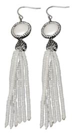 Zoetwater parel oorbellen Bright Coin Pearl White Crystal Tassel