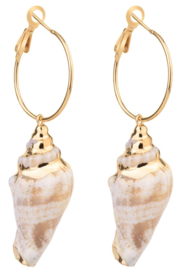 Schelpen oorbellen Big Hope Conch Shell Gold