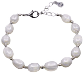 Zoetwaterparel armband Pearl Silver