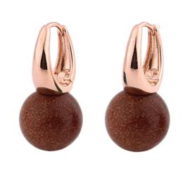 Edelstenen oorbellen Rose Gold Goldstone Ball