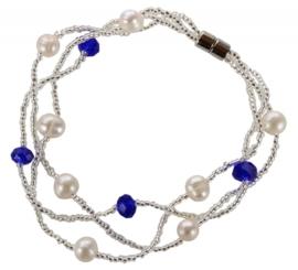 Zoetwater parel en kristallen armband Twine Pearl Blue Crystal