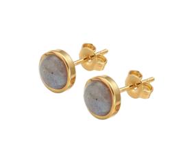 Edelstenen oorbellen Labradorite Small Gold