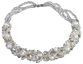 Zoetwater parel met kristallen armband Pearl Crystal Clear