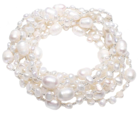 Zoetwater parelketting Long Seed Bead White