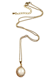 Zoetwater parelketting Bright Golden Pearl