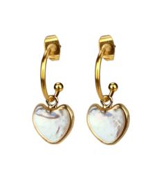 Zoetwater parel oorbellen Golden Hope 15 mm Heart White Pearl