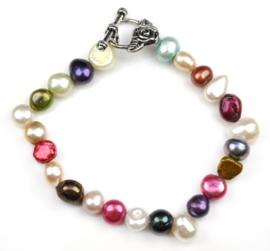 Zoetwater parel armband Sparkling Color