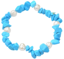Zoetwaterparel en edelstenen armband Pearl Turquoise Chip