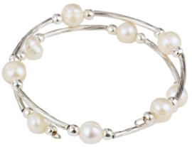 Zoetwater parel armband Pearl Metal Wrap