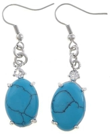 Edelstenen oorbellen Turquoise Oval