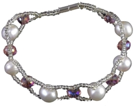 Zoetwater parel en kristallen armband Pearl Crystal Pink 8