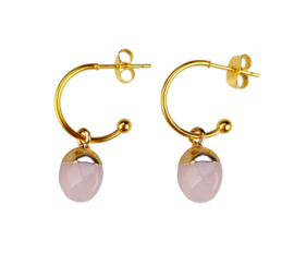 Edelstenen oorbellen Golden Hope 15 mm Rose Quartz