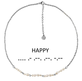 Cadeau set zoetwater parelketting Morse Code Happy Pearl Silver
