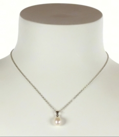 Zoetwater parelketting Single Pearl White