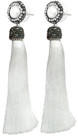 Zoetwater parel oorbellen Bright Pearl White Tassel