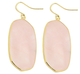 Edelstenen oorbellen Big Rose Quartz Gold