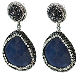 Edelstenen oorbellen Bright Dark Blue Cat's Eye