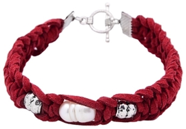 Zoetwater parel armband Pearl Red Suede