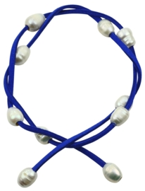 Zoetwater parel armband Wrap Suède Blue Pearl