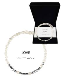 Cadeau set zoetwater parel armband Morse Code LOVE Pearl Silver