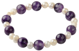 Zoetwaterparel en edelstenen armband Pearl Amethyst