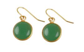 Edelstenen oorbellen Green Aventurine Gold Round