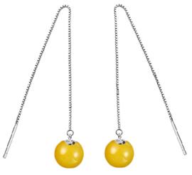 Edelstenen oorbellen Yellow Agate Chain