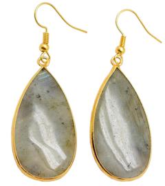 Edelstenen oorbellen Big Teardrop Labradorite Gold