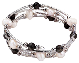 Zoetwater parel wikkel armband met edelstenen Wrap Pearl Black Striped Agate