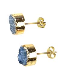 Edelstenen oorbellen Druzy Gold Royal Blue