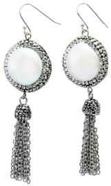 Zoetwater parel oorbellen Bright Pearl Dangling Tassel