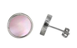 Parelmoeren oorbellen Shell Pink Stud Round