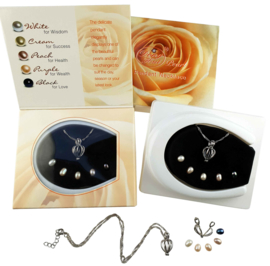 Zoetwater parel ketting cadeau set Giftbox Rose