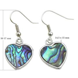 Parelmoeren oorbellen Abalone Silver Heart