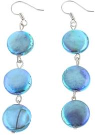 Zoetwater parel oorbellen Sky Blue Coin Pearl
