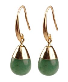 Edelstenen oorbellen Gold Dip Green Aventurine
