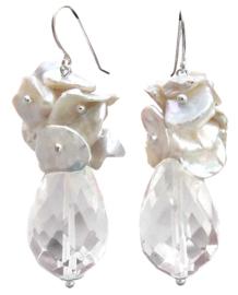 Zoetwater parel en kristallen oorbellen Kiomi