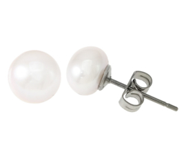 Zoetwater parel oorbellen Pearl White 8 mm