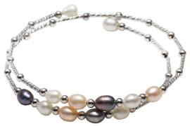 Zoetwater parel wikkelarmband Wrap Silver Multi Pearl