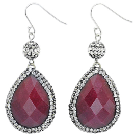Edelstenen oorbellen Bright Red Jade Teardrop