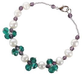 Zoetwater parel en kristallen armband Pearl Green Crystal