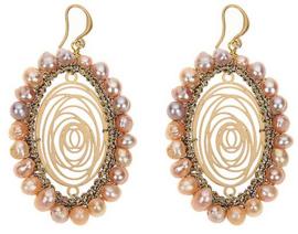 Zoetwater parel oorbellen Golden Flower Pink Pearl