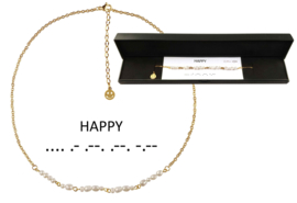 Cadeau set zoetwater parelketting Morse Code Happy Pearl Gold