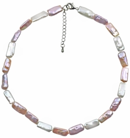 Zoetwater parelketting Pearl Rectangle Soft Colors