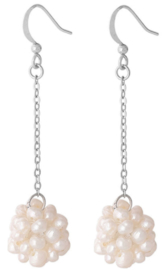 Zoetwater parel oorbellen Long Dangling White Pearl Ball